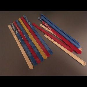 16 Pan Am Plastic Stirrers - Various Colors